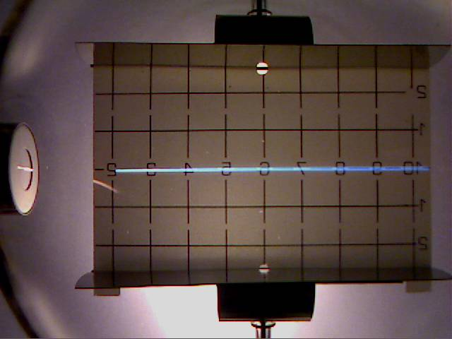 Real experiment about deflection of electrons in electric field of a plate capacitor